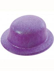 Sombrero bombín brillante violeta adulto