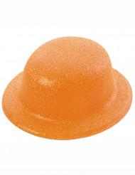 Sombrero bombín brillante naranja adulto