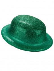 Sombrero bombín verde purpurina adulto