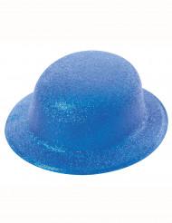 Sombrero bombín brillante azul adulto