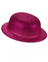 Sombrero bombín brillante rosa adulto
