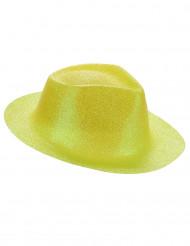 Sombrero purpurina amarilla adulto