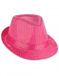 Sombrero borsalino lentejuelas rosa fluorescente adulto