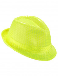 Sombrero borsalino lentejuelas amarillas fluorescente adulto