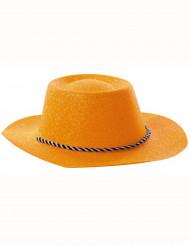 Sombrero de vaquera naranja brillante adulto