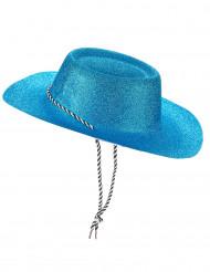 Sombrero cowgirl azul purpurina adulto