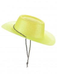 Sombrero cowgirl amarillo purpurina adulto