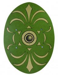 Escudo romano verde y dorado madera 35x49 cm