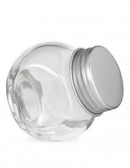 Pequeño frasco de vidrio con tapa de acero 5 x 5.5 cm