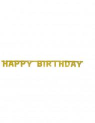 Guirnalda articulada Happy Birthday dorada 121 cm