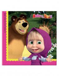 20 Servilletas Masha y el oso™ 33x33 cm