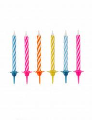 10 Velas cumpleaños multicolores con soporte
