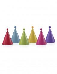 6 Gorros de fiesta multicolor con pompones