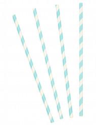 10 Pajitas cartón rayadas azul cielo
