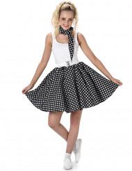 Disfraz de los años 50 negro con puntos mujer