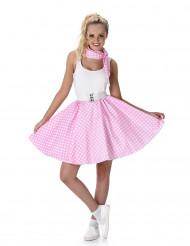 Disfraz años 50 rosa con puntos blancos mujer
