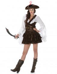 Disfraz de pirata mujer marrón