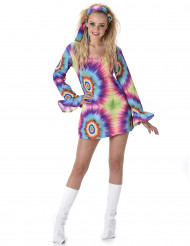 Disfraz de hippie multicolor mujer