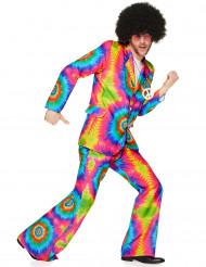 Disfraz disco hippie psicodélico hombre fosforito