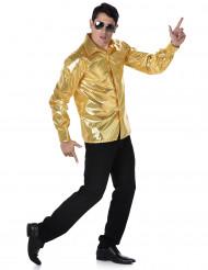 Camisa disco lentejuelas doradas hombre
