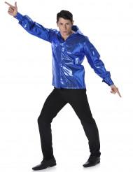 Camisa disco lentejuelas azules hombre