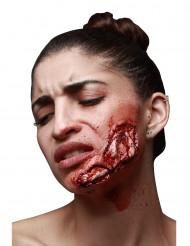 Herida falsa mandíbula desgarrada adulto Halloween