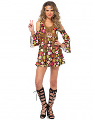 Disfraz hippie florido mujer
