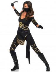 Disfraz ninja dragón dorado mujer