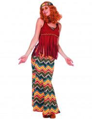 Disfraz hippie años 70 flecos mujer