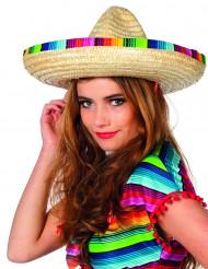 Sombrero de paja mariachi borde multicolor adulto