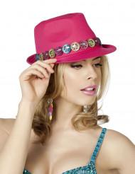 Sombrero borsalino hippie paz rosa adulto