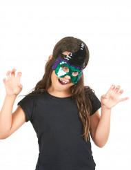 Máscara bruja verde lentejuelas niño Halloween