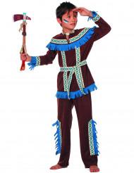 Disfraz de indio con flecos azules niño