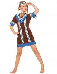 Disfraz de india flecos azules niña
