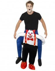 Disfraz hombre a hombros de un payaso siniestro Halloween