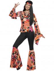 Disfraz hippie negro y multicolor mujer