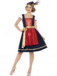 Disfraz de bávara tradicional azul mujer