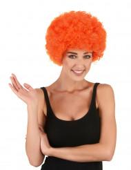 Peluca afro payaso naranja clásica adulto