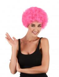 Peluca afro/ payaso rosa estándar adulto