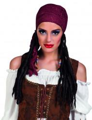 Peluca pirata con pañuelo burdeos mujer