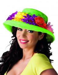 Sombrero verde con flores Hawái adulto