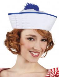 Sombrero marinero blanco pompón azul mujer