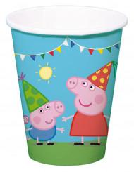8 Vasos cartón Peppa Pig™ 250 ml