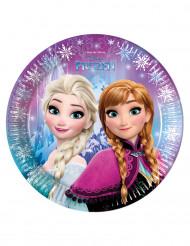8 Platos de cartón copos Frozen™ 23 cm