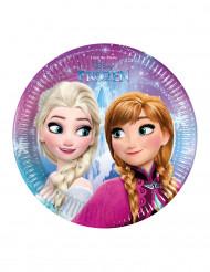 8 Platos pequeños cartón copos Frozen™ 19.5 cm