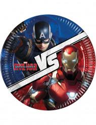 8 Platos de cartón Capitán América Civil War™ 23 cm