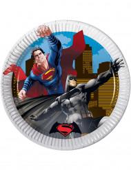 8 Platos pequeños cartón Batman vs Superman™ 19.5 cm
