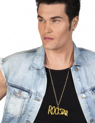 Collar rock star dorado adulto