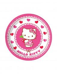 8 Platos pequeños de cartón Hello Kitty™ 19.5 cm