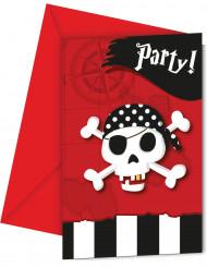 6 Tarjetas de invitación con sobres Mapa del Tesoro Pirata